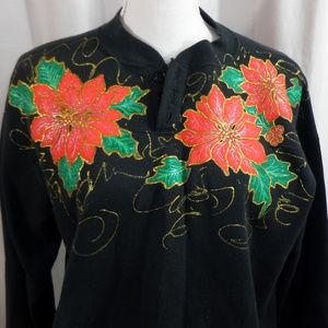 Vintage 80s 90s Painted Christmas Sweatshirt - M